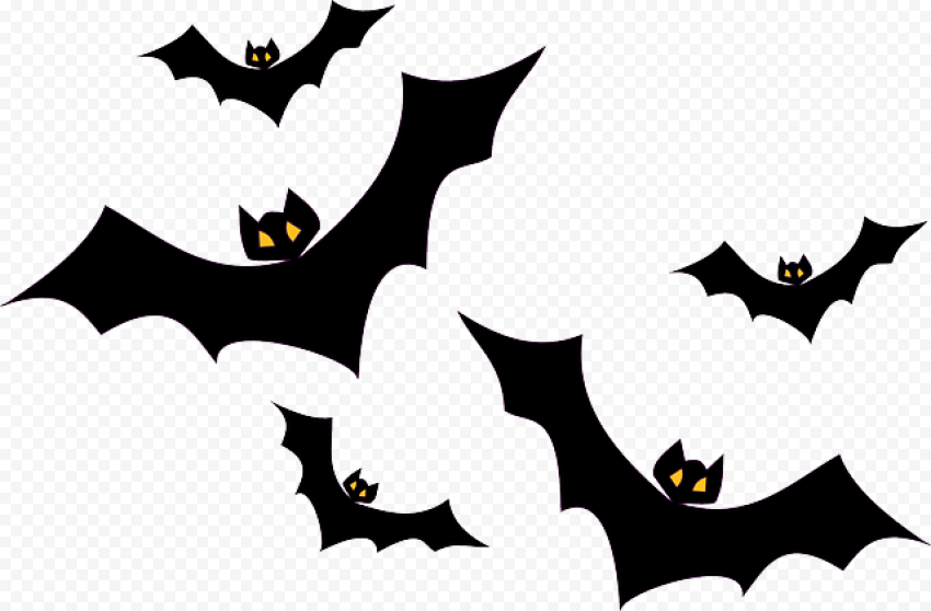 Black Halloween Bats Silhouette Flying