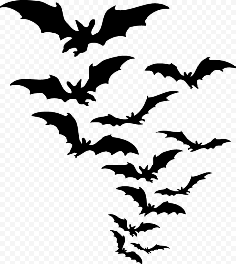 Group Of Black Bats Silhouettes Flying