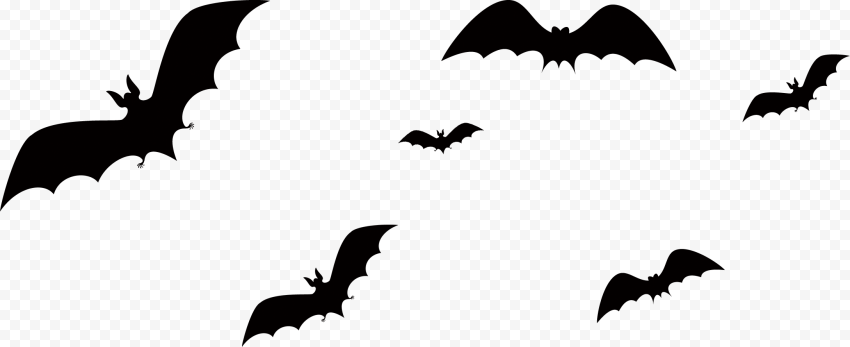 Black Silhouette Of Group Of Bats Flying