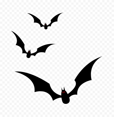 Bats Group Flying Black Silhouette