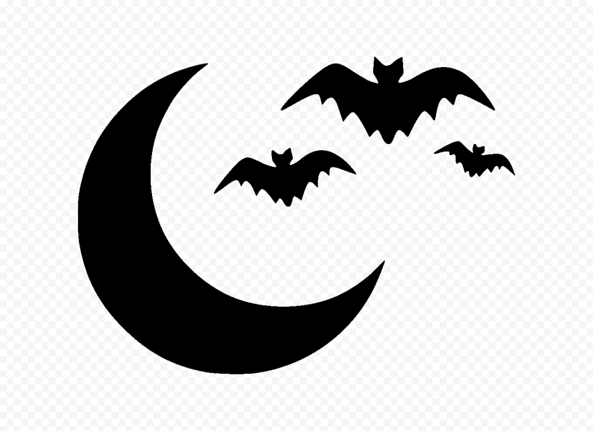 Group Of Black Bats With Moon Silhouette