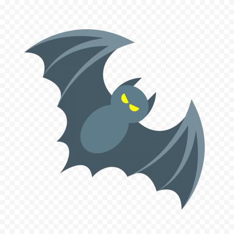 Cartoon Gray Bat Open Wings Fly Illustration