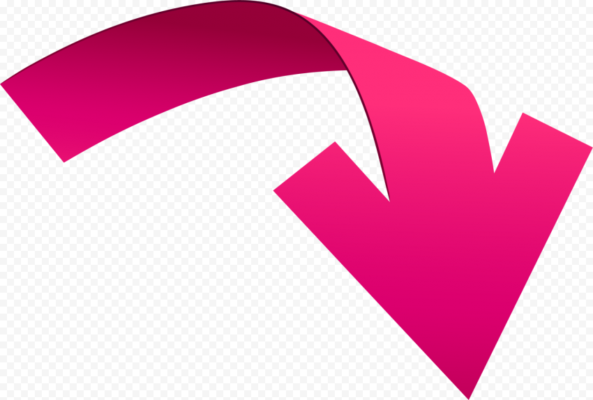 Vector 3D Pink Curved Arrow Point Down