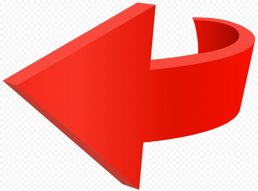 3D HD Red Curved Arrow Point Left