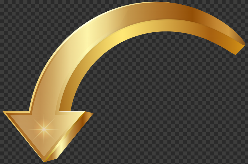 3D Golden Gold Curved Arrow Point Down