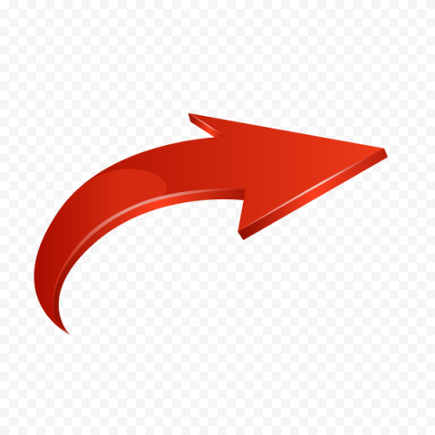 3D Red Curved Arrow Graphic Point Right