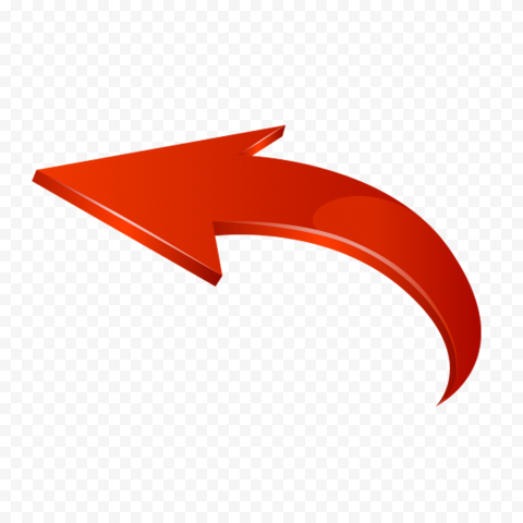 3D Red Curved Arrow Graphic Point Left