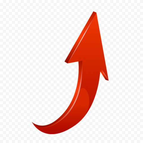 3D Red Curved Arrow Graphic Point Up