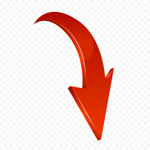3D Red Curved Arrow Graphic Point Down