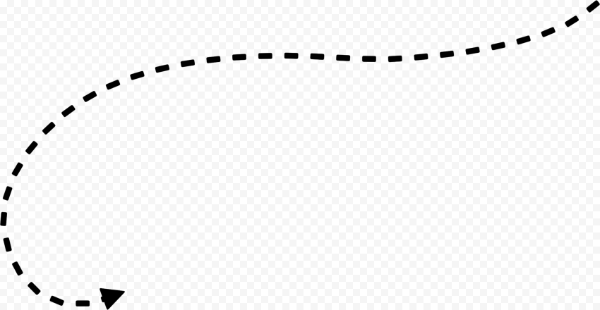 Dashed Curved Black Arrow