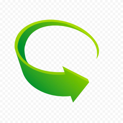 3D Graphic Green Curved Arrow Right