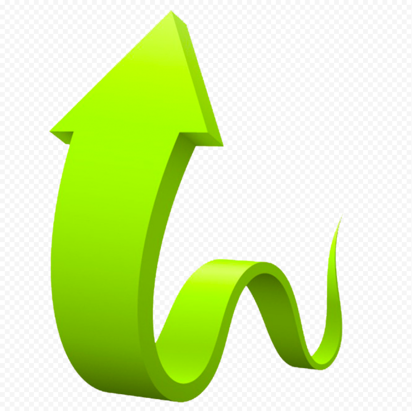 3D Graphic Green Curved Arrow Up