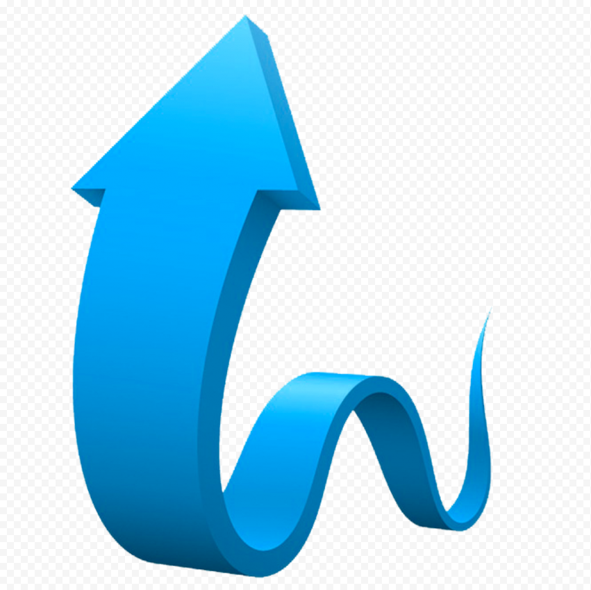 3D Graphic Blue Curved Arrow Up