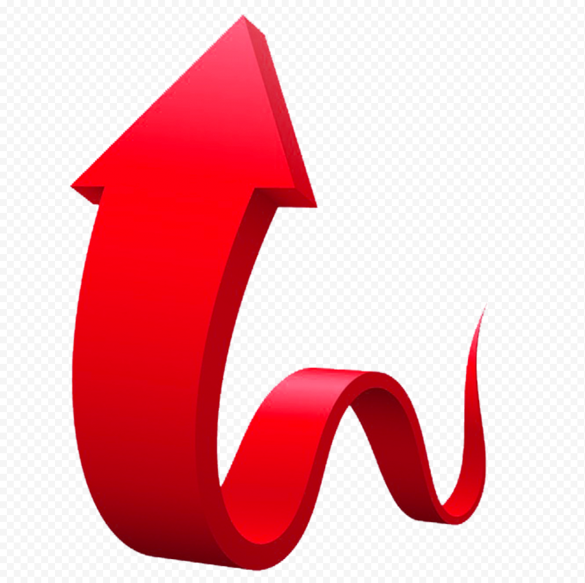 3D Graphic Red Curved Arrow Up