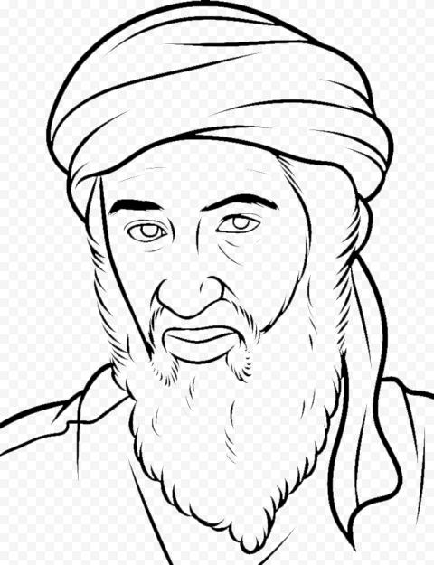 Osama Bin Laden Head Outline Hand Drawing