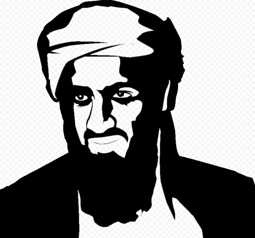Osama Bin Laden Head Black Silhouette
