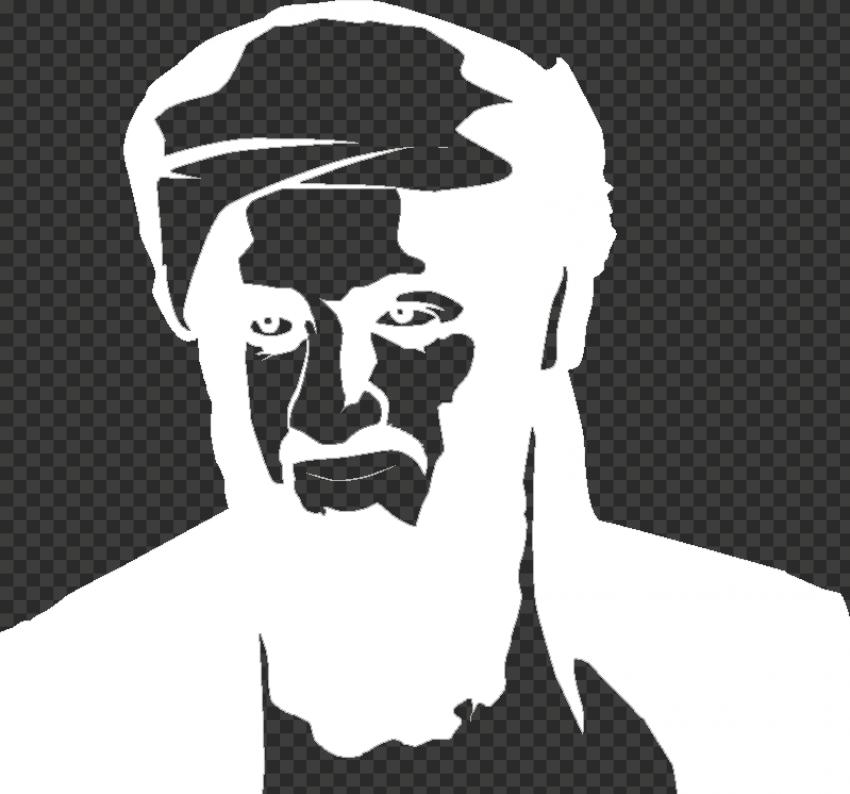 Osama Bin Laden Head White Silhouette
