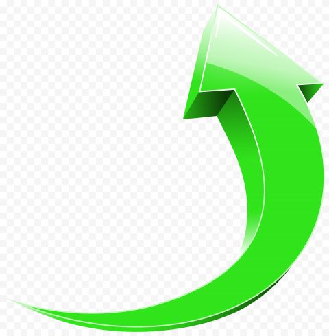 3D Green High Resolution Curved Arrow Point Up