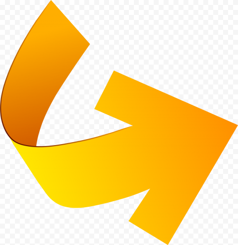 Yellow Orange 3D Vector Curved Arrow Point Right