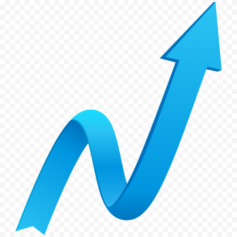 Blue ZigZag 3D Arrow Point Up Right High Quality
