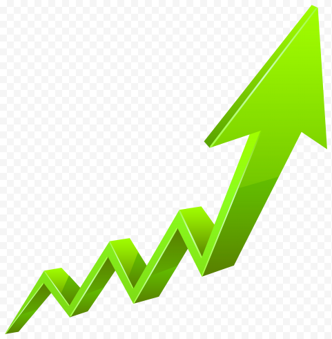 Green ZigZag 3D Arrow Growth Market Upward