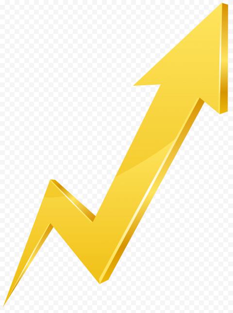 Yellow Zig Zag 3D Arrow Growth Market Upward
