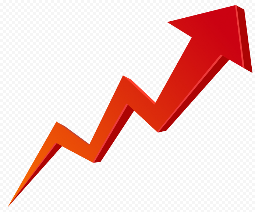 Red Zig Zag 3D Arrow Growth Stock Market Upward