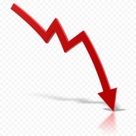 3D Red Chart Market Zig Zag Arrow Going Down