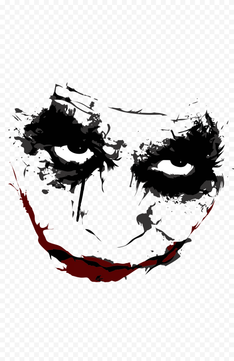 Face Silhouette Of Joker With Red Mouth