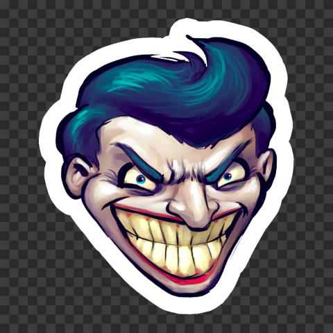 Cartoon Joker Head Face Clipart Stickers
