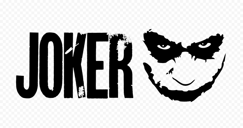 Joker Logo Black Text With Face Silhouette