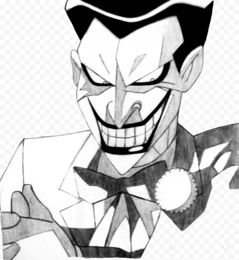 Black & White Joker Smiling Drawing Art Work
