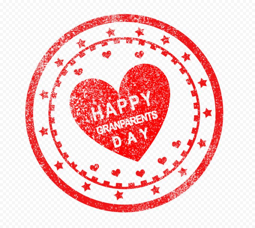 Round Happy Grandparents Day Creative Red Stamp
