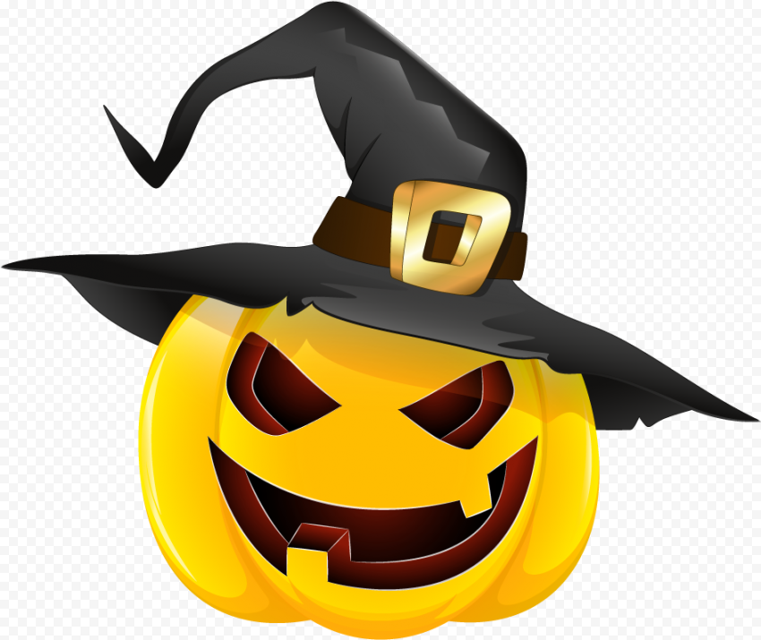 Scary Pumpkin Yellow Face Wearing Witch Hat