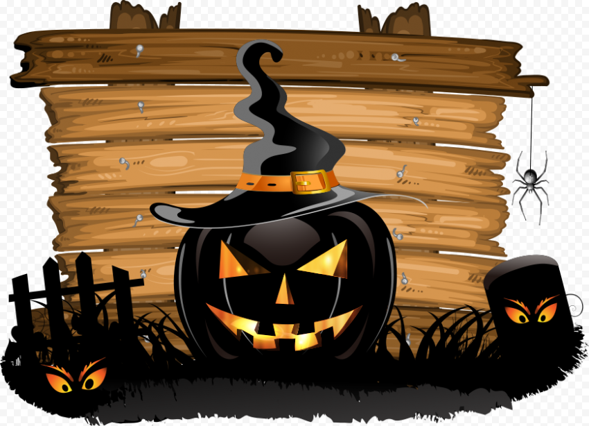 Black Pumpkin Jack O Lantern With Witch Hat Horror