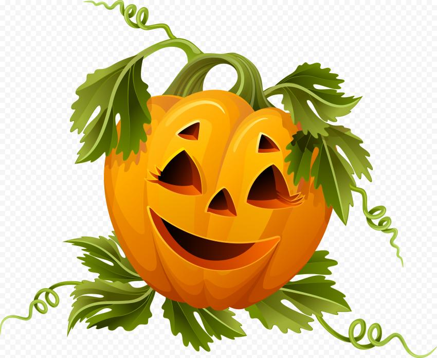 Cute Halloween Pumpkin With Leaves Illustration