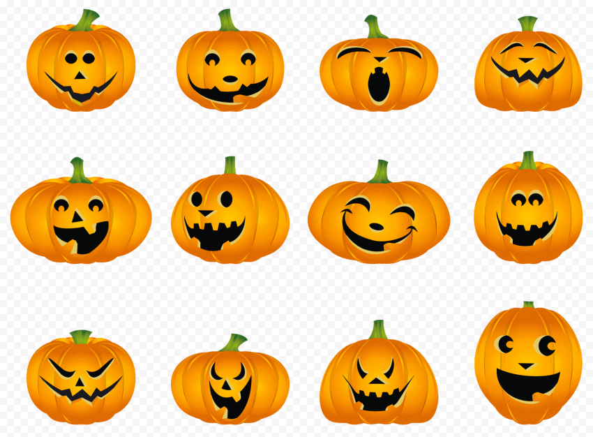 Set Of Halloween Pumpkins Jack O Lanterns Cartoons