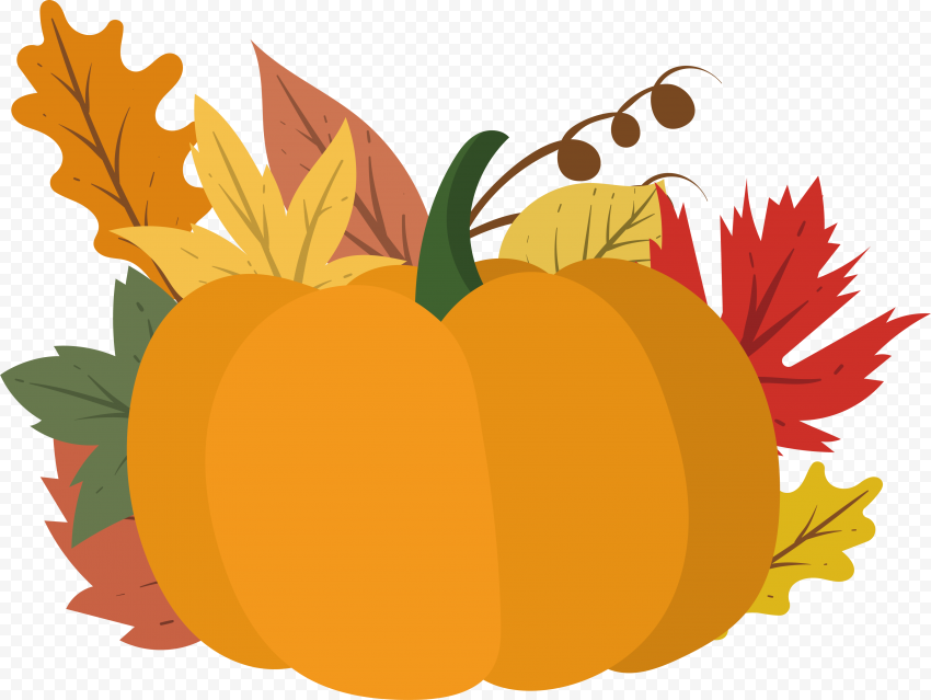 Pumpkin With Autumn Fall Leaves Vector Clipart