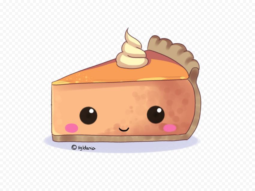 Cartoon Cute One Piece Of Pumpkin Pie Tart