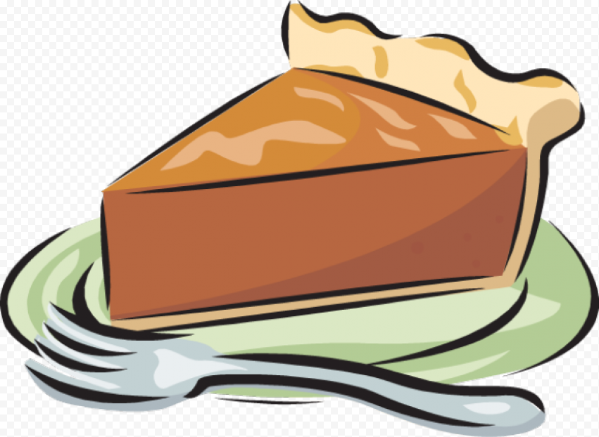 Cartoon Clipart One Piece Of Pumpkin Pie On Plate Citypng