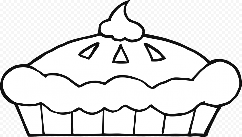 Pumpkin Pie Tart Black & White Coloring Drawing