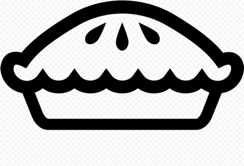 Black Outline Pumpkin Pie Tart Icon