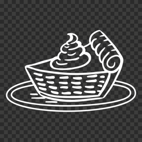 One Piece Of White Outline Pumpkin Pie Icon Drawing