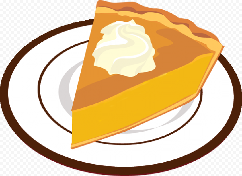 One Piece Of Pumpkin Pie On Plate Cartoon Illustration Citypng