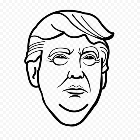Donald Trump Black Outline Drawing Face Head