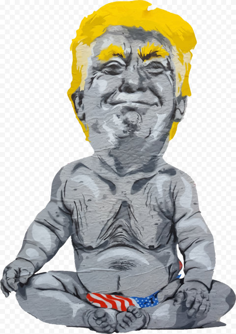 Baby Donald Trump With Us Flag Cartoon Clipart