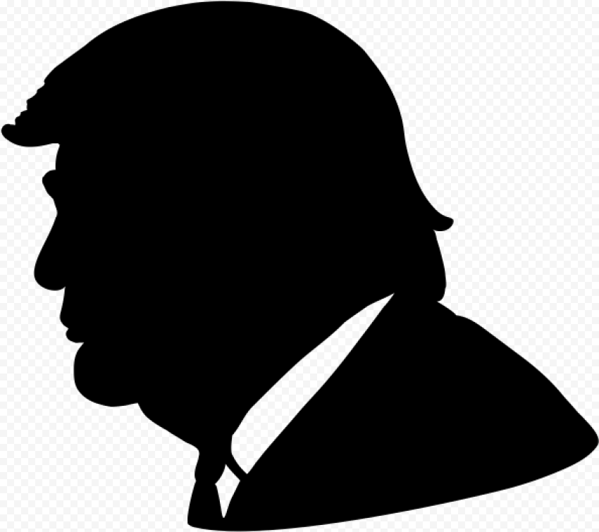 Black Donald Trump Face Silhouette Side View