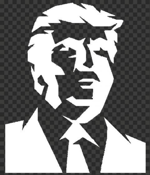 Donald Trump Portrait White Silhouette