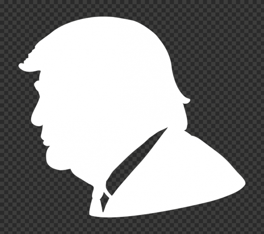 White Donald Trump Face Silhouette Side View
