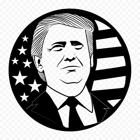 Round Black Trump President Silhouette With Us Flag